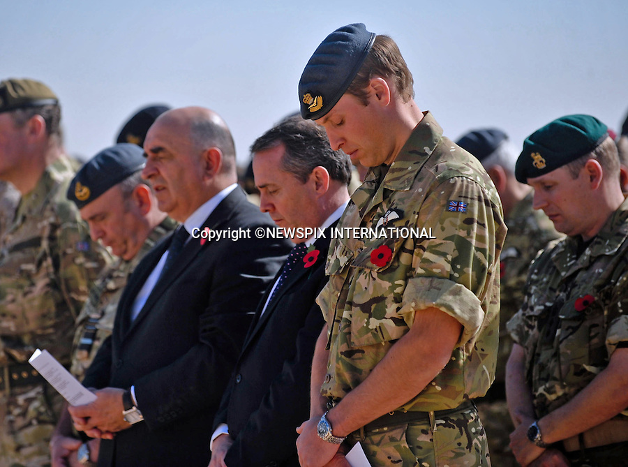 """PRINCE WILLIAM.paid a visit to Camp Bastion in Afghanistan for the Remembrance Sunday Service. He lay wreath at the Bastion Memorial and met troops during his flying visit_14/11/2010.Photo Credit: ©Webster/Newspix International..**ALL FEES PAYABLE TO: """"NEWSPIX INTERNATIONAL""""**..PHOTO CREDIT MANDATORY!!: NEWSPIX INTERNATIONAL..IMMEDIATE CONFIRMATION OF USAGE REQUIRED:.Newspix International, 31 Chinnery Hill, Bishop's Stortford, ENGLAND CM23 3PS.Tel:+441279 324672  ; Fax: +441279656877.Mobile:  0777568 1153.e-mail: info@newspixinternational.co.uk"""
