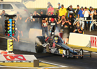 Feb 11, 2016; Pomona, CA, USA; NHRA top alcohol dragster driver Cameron Ferre during qualifying for the Winternationals at Auto Club Raceway at Pomona. Mandatory Credit: Mark J. Rebilas-USA TODAY Sports
