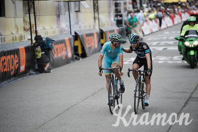 former teammates Vincenzo Nibali (ITA/Astana) & Mikel Landa (ESP/SKY) crossing the finish line<br /> <br /> stage 10: Escaldes-Engordany (AND) - Revel (FR)<br /> 103rd Tour de France 2016