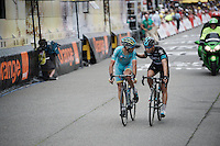 former teammates Vincenzo Nibali (ITA/Astana) & Mikel Landa (ESP/SKY) crossing the finish line<br /> <br /> stage 10: Escaldes-Engordany (AND) - Revel (FR)<br /> 103rd Tour de France 2016