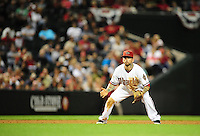 Apr. 12, 2011; Phoenix, AZ, USA; Arizona Diamondbacks infielder Ryan Roberts against the St. Louis Cardinals at Chase Field. Mandatory Credit: Mark J. Rebilas-