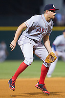 Pawtucket Red Sox third baseman Garin Cecchini (3) on defense against the Charlotte Knights at BB&T Ballpark on August 9, 2014 in Charlotte, North Carolina.  The Red Sox defeated the Knights  5-2.  (Brian Westerholt/Four Seam Images)