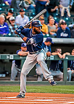 16 September 2017: San Diego Padres outfielder Manuel Margot in action against the Colorado Rockies at Coors Field in Denver, Colorado. The Rockies shut out the Padres 16-0 in the second game of their 3-game divisional series. Mandatory Credit: Ed Wolfstein Photo *** RAW (NEF) Image File Available ***