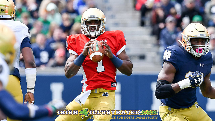 Quarterback Brandon Wimbush (7) looks to throw.