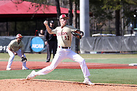 ELON, NC - MARCH 1: Trevor Kirk #32 of Elon University throws a pitch during a game between Indiana State and Elon at Walter C. Latham Park on March 1, 2020 in Elon, North Carolina.