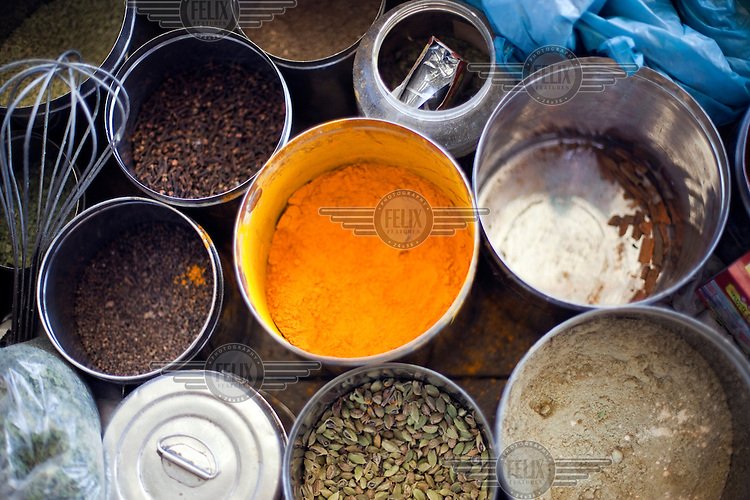 A box of spices used by Wazas (cooks) in the Wazwan tradition. Wazwan is a traditional Kashmiri feast, largely consisting of meat dishes, which is served on special occasions. /Felix Features