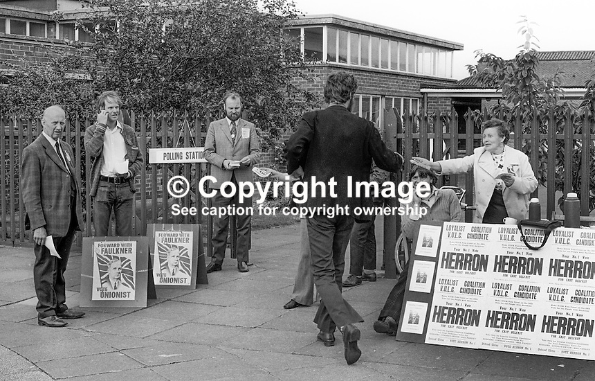 N Ireland Assembly General Election - party workers get one last chance to influence voters arriving at the Cregagh Road Primary school  polling station, Belfast, 28th June 1973. 197306280458a<br />