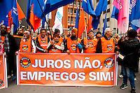 SÃO PAULO,SP, 19.07.2016 - PROTESTO-JUROS - Centrais sindicais protestam contra o atual patamar dos juros nesta terça-feira, 19, em frente à sede do Banco Central (BC) na Avenida Paulista, na região central de São Paulo. (Foto: Gabriel Soares/Brazil Photo Press)