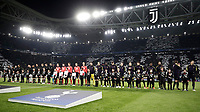 Football Soccer: UEFA Champions League Juventus vs Tottenahm Hotspurs FC Round of 16 1st leg, Allianz Stadium. Turin, Italy, February 13, 2018. <br /> Juventus and Tottenham Hotspurs FC teams line up prior to the start of he Uefa Champions League football soccer match between Juventus and Tottenahm Hotspurs FC at Allianz Stadium in Turin, February 13, 2018.<br /> UPDATE IMAGES PRESS/Isabella Bonotto