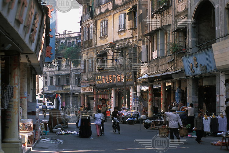 Decaying colonial facades along Anping Road in the former colonial port concession of Shantou (formerly known as Swatow).