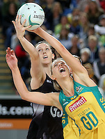 04.09.2016 Silver Ferns Bailey Mes and Australia's Clare McMeniman in action during the Netball Quad Series match between the Silver Ferns and Australia played at Margaret Court Arena in Melbourne. Mandatory Photo Credit ©Michael Bradley.
