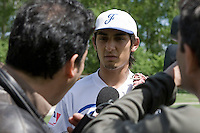 30 April 2008: Thomas Medina of France answers a journalist during the first of seven 2008 MLB European Academy Try-out Sessions throughout Europe, at Stade Kandy Nelson Ball Park, in Toulouse, France. Try-out sessions are run by members of the Major League Baseball Scouting Bureau with assistance from MLBI staff.
