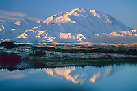 Mt Denali, (Denali) North America's highest mountain, reflection pond, autumn, Denali National Park, Alaska