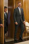 King Felipe VI of Spain receives Colombia Republic President Juan Manuel Santos Calderon during Royal Audiences at Palacio de la Zarzuela in Madrid, Spain. November 03, 2014. (ALTERPHOTOS/Victor Blanco)