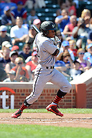 Outfielder Stone Garrett (22) of George Ranch High School in Sugar Land, Texas during the Under Armour All-American Game on August 24, 2013 at Wrigley Field in Chicago, Illinois.  (Mike Janes/Four Seam Images)
