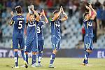 Getafe's Santiago Vergini, Medhi Lacen,  Alvaro Medran, Emiliano Daniel Velazquez and Stefan Scepovic celebrate the victory in La Liga match.September 18,2015. (ALTERPHOTOS/Acero)