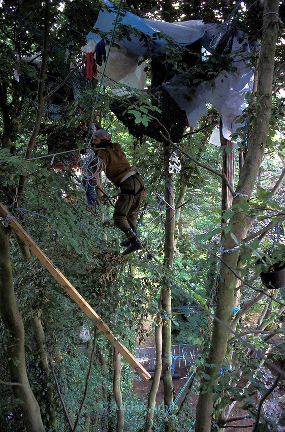 Environmental protesters take to the trees on the route of the planned Batheaston bypass Bath,  Solsbury Hill, Avon.