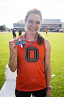 Allison Kilday '19 finished 3rd in the 400 meter hurdles<br /> The Occidental College men's and women's track and field teams compete in the 2019 Southern California Intercollegiate Athletic Conference (SCIAC) Track and Field Championships at the Claremont-Mudd-Scripps Burns Track Complex in Claremont, Calif. on Sunday, April 28, 2019.<br /> After the two-day SCIAC Championships CMS scored 211.50 points, followed by Pomona-Pitzer (171.50), Redlands (114), Occidental (92.50), Whittier (57.50), La Verne (54), Cal Lutheran (48), Chapman (23) and Caltech (4).