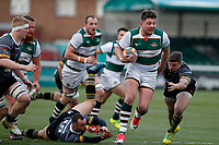 Harry Sloan of Ealing Trailfinders makes for the line during the Championship Cup Quarter Final match between Ealing Trailfinders and Nottingham Rugby at Castle Bar , West Ealing , England  on 2 February 2019. Photo by Carlton Myrie / PRiME Media Images.