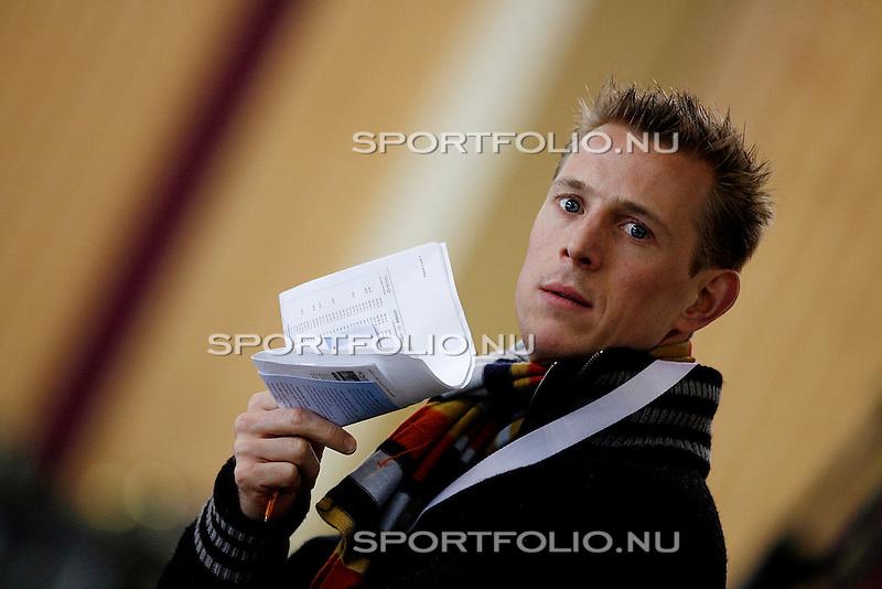 Duitsland, Berlijn. 8 februari 2008 .WK schaatsen allround 2008 .Training .Jochem Uytdehaage, ex-schaatser van Nederland en schaatsdeskundige bij de NOS