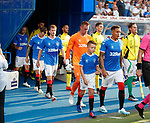 25.07.2019 Rangers v Progres Niederkorn: James Tavernier leads out the teams