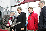 7 April 2007: The ribbon-cutting ceremony to officially open Dick's Sporting Goods Park.  Left to right:  Rapids staffer, Colorado Rapids owner Stan Kroenke, Dick's Sporting Goods official Jeff Hennion, MLS Commissioner Don Garber. The Colorado Rapids defeated DC United 2-1 at Dick's Sporting Goods Park in Denver, Colorado in the opening game of the MLS regular season.