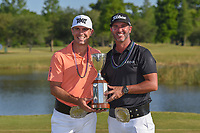 Billy Horschel (USA) and Scott Piercy (USA) hold the trophy for winning the Zurich Classic of New Orl, TPC Louisiana, Avondale, Louisiana, USA. 4/29/2018.<br /> Picture: Golffile | Ken Murray<br /> <br /> <br /> All photo usage must carry mandatory copyright credit (&copy; Golffile | Ken Murray)