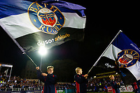 Guard of Honour mascots wave Bath Rugby flags prior to kick off. Gallagher Premiership match, between Bath Rugby and Exeter Chiefs on October 5, 2018 at the Recreation Ground in Bath, England. Photo by: Patrick Khachfe / Onside Images
