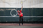 Palestinian tennis's players participate during doubles match at a local tennis championship, in Gaza City on October 31, 2018. Photo by Mahmoud Ajjour