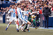 10th February 2019,  Estadio Municipal de Butarque, Leganes, Spain; La Liga football, Leganes versus Real Betis; Jese Rodriguez (Betis) challenges for control of the ball with Unai Bustinza (CD Leganes)