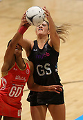 10th September 2017, PG Arena, Napier, New Zealand; Taini Jamison Netball Trophy, New Zealand versus England;  New Zealands Te Paea Selby-Rickit contests the ball with Englands Ama Agbeze