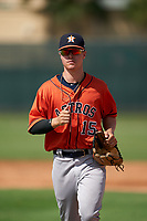 GCL Astros Colin Barber (15) during a Gulf Coast League game against the GCL Cardinals on August 11, 2019 at Roger Dean Stadium Complex in Jupiter, Florida.  GCL Cardinals defeated the GCL Astros 2-1.  (Mike Janes/Four Seam Images)