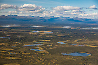 Aerial of the Kobuk River and adjacent wetland ponds, Arctic, Alaska.