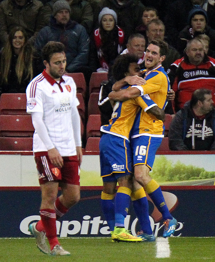 Shrewsbury Town's Scott Vernon (right) celebrates with team mates after scoring his sides third goal <br /> <br /> Photographer Rich Linley/CameraSport<br /> <br /> Football - The Football League Sky Bet League One - Sheffield United v Shrewsbury Town - Tuesday 24th November 2015 - Bramall Lane - Sheffield<br /> <br /> &copy; CameraSport - 43 Linden Ave. Countesthorpe. Leicester. England. LE8 5PG - Tel: +44 (0) 116 277 4147 - admin@camerasport.com - www.camerasport.com
