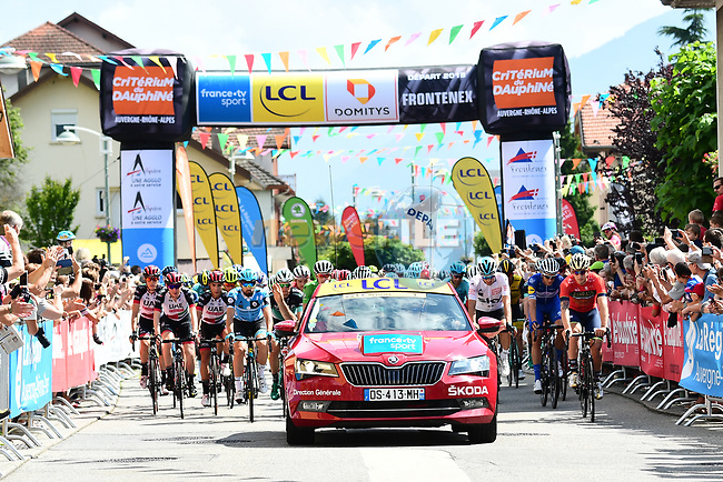 The start of Stage 6 of the 2018 Criterium du Dauphine 2018 running 110km from Frontenex to La Rosiere, France. 9th June 2018.<br /> Picture: ASO/Alex Broadway | Cyclefile<br /> <br /> <br /> All photos usage must carry mandatory copyright credit (© Cyclefile | ASO/Alex Broadway)
