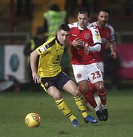 Oxford United's Cameron Brannagan holds off the challenge from Fleetwood Town's Ross Wallace<br /> <br /> Photographer Rich Linley/CameraSport<br /> <br /> The EFL Sky Bet League One - Fleetwood Town v Oxford United - Saturday 12th January 2019 - Highbury Stadium - Fleetwood<br /> <br /> World Copyright &copy; 2019 CameraSport. All rights reserved. 43 Linden Ave. Countesthorpe. Leicester. England. LE8 5PG - Tel: +44 (0) 116 277 4147 - admin@camerasport.com - www.camerasport.com