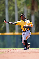 Pittsburgh Pirates shortstop Gift Ngoepe (91) during an Instructional League Intrasquad Black & Gold game on September 21, 2016 at Pirate City in Bradenton, Florida.  (Mike Janes/Four Seam Images)