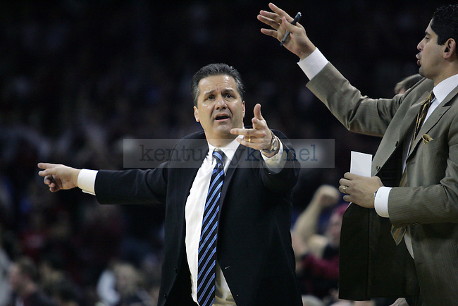 UK head coach John Calipari yells at the referee during the second half of their first  loss of the season,68-62, to the Gamecocks at Colonial Life Arena on Tuesday, Jan. 26, 2010. Photo by Britney McIntosh | Staff