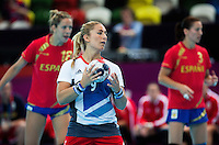 25 JUL 2012 - LONDON, GBR - Britt Goodwin (GBR) of Great Britain prepares to take a 7m throw during the women's London 2012 Olympic Games warm up handball match against Spain at The Copper Box in the Olympic Park, in Stratford, London, Great Britain .(PHOTO (C) 2012 NIGEL FARROW)