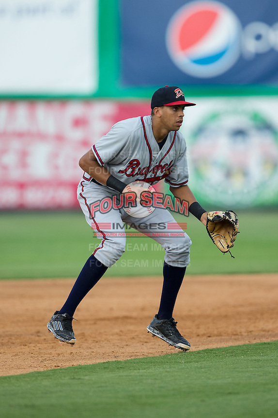 Danville Braves shortstop Kurt Hoekstra (25) on defense against the Burlington Royals at Burlington Athletic Park on July 12, 2015 in Burlington, North Carolina.  The Royals defeated the Braves 9-3. (Brian Westerholt/Four Seam Images)