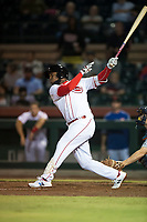 Scottsdale Scorpions shortstop Alfredo Rodriguez (3), of the Cincinnati Reds organization, follows through on his swing during an Arizona Fall League game against the Mesa Solar Sox on October 9, 2018 at Scottsdale Stadium in Scottsdale, Arizona. The Solar Sox defeated the Scorpions 4-3. (Zachary Lucy/Four Seam Images)
