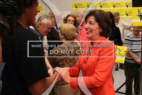 Democratic candidate Kathy Hochul speaks with supporters during a rally at UAW Union Hall on May 21, 2011 in Amherst, New York.  Hochul is running for the House of Representatives, NY-26th, in a special election to replace disgraced former Congressman Christopher Lee who abruptly resigned after a sex scandal.  Photo By Mike Janes/Four Seam Images