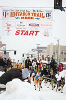 Matt Failor leaves the 2011 Iditarod ceremonial start line in downtown Anchorage, during the 2012 Iditarod..Jim R. Kohl/Iditarodphotos.com