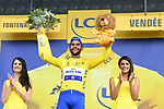 Fernando Gaviria (COL) Quick-Step Floors wins Stage 1 and takes the first leaders Yellow Jersey of the 2018 Tour de France running 201km from Noirmoutier-en-l&rsquo;&Icirc;le to Fontenay-le-Comte, France. 7th July 2018. <br /> Picture: ASO/Pauline Ballet | Cyclefile<br /> All photos usage must carry mandatory copyright credit (&copy; Cyclefile | ASO/Pauline Ballet)