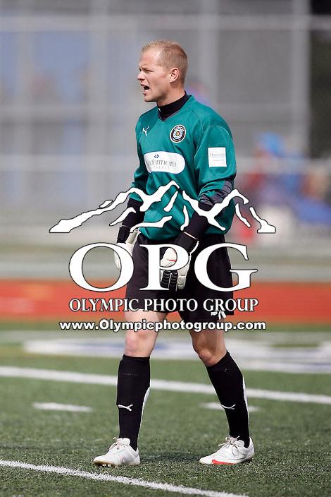 10 April 2010:   Kitsap Pumas back up keeper #1 Garrett Staples sets up on the field.  The Kitsap Pumas played a friendly preseason game against Gonzaga University at Bainbridge Island High School in Bainbridge Island, WA.