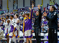 Stony Brook defeats UAlbany  69-60 in the America East Conference tournament quaterfinals at the  SEFCU Arena, Mar. 3, 2018.  Albany bench celebrates a three-pointer from Cremo.