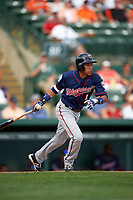 Minnesota Twins shortstop Engelb Vielma (1) hits a triple during a Spring Training game against the Baltimore Orioles on March 7, 2016 at Ed Smith Stadium in Sarasota, Florida.  Minnesota defeated Baltimore 3-0.  (Mike Janes/Four Seam Images)