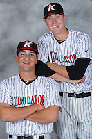Kannapolis Intimidators pitchers Ryan Hinchley (left) and Matt Ball pose for a photo at Kannapolis Intimidators Stadium on April 5, 2016 in Kannapolis, North Carolina.  (Brian Westerholt/Four Seam Images)