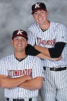 Kannapolis Intimidators pitchers Ryan Hinchley (left) and Matt Ball pose for a photo at Kannapolis Intimidators Stadium on April 5, 2016 in Kannapolis, North Carolina.  (Brian Westerholt/Four Seam Images)