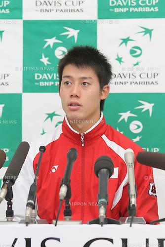 Kei Nishikori (JPN), FEBRUARY 10, 2012 - Tennis : Davis Cup 2012, World Group First Round match Japan 1-1 Croatia at Bourbon Beansdome, Hyogo, Japan. (Photo by Akihiro Sugimoto/AFLO SPORT) [1080]